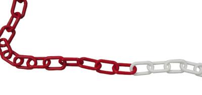 Catena in plastica bianca/rossa 25mt